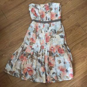 New Rebecca Taylor floral strapless silk dress 2
